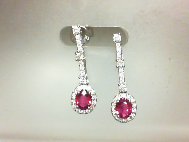 18KT WG .36CT DIA / .80CT RUBY OVAL DANGLE EARRINGS