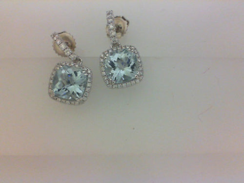 18KT 68 RD DIA .49CTTW WITH 2 8X8 AQUA MARINE 3.93CTTW EARRINGS