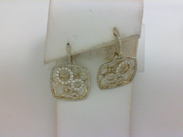 14K YG 244 RD 1.14CTTW DANGLE EARRINGS