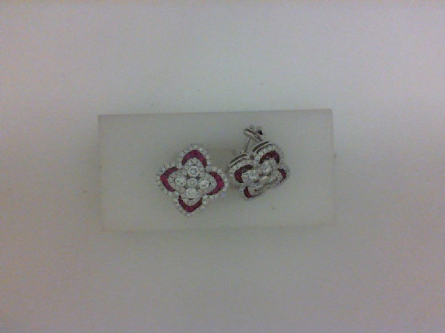18KT WG 138 RD DIA & 40 RD RUBY EARRINGS