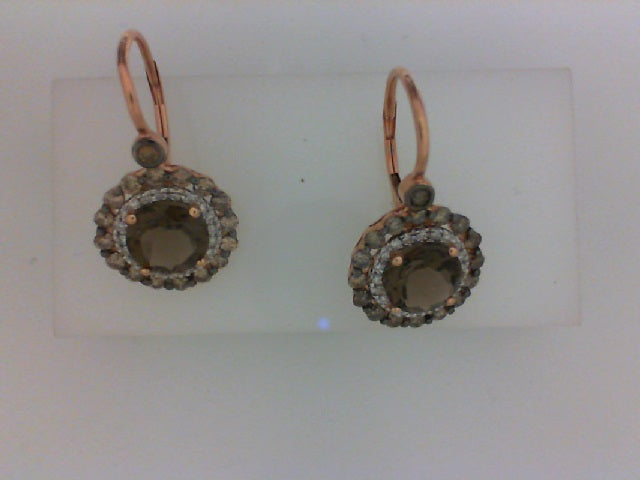 14KT RG 2.27CTTW SMOKEY TOPAZ & .16CTTW 40 RD DIA/.81CT BRN DIA EARRINGS