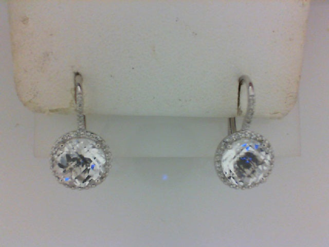 14KT WG 58 RD DIA .17CTTW W 2 WH QRTZ 4.17CTTW LEVER BACK EARRINGS