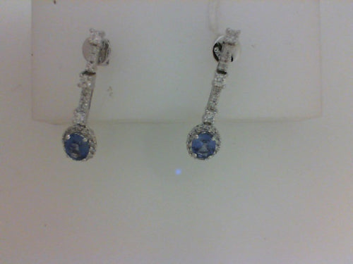 18KT .87CTTW  2 OVAL SAPH .38CTTW 46 RD DIA EARRINGS