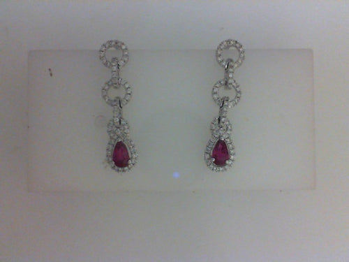 18KT WG .54CTTW RUBY W .32CTTW 112 RD DIA DANGLE EARRINGS