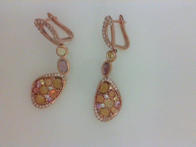 14KT RG .33CTTW RD DIA W 3.09CTTW COLORED STONE DANGLE EARRINGS