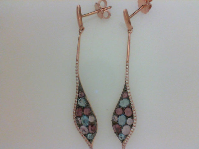 14KT RG .21CTTW RD DIA W 2.90CTTW COLORED STONE DANGLE EARRINGS