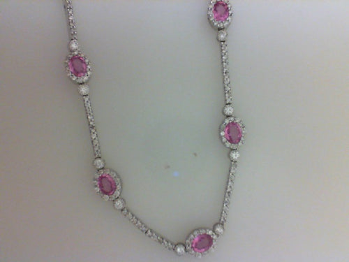 1.55CTTW RD W 3.00PINK SAPH NECKLACE