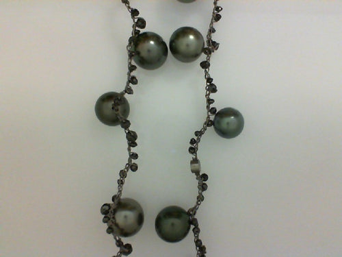 CP STEEL CROCHET W BLK DIA 19.64CTTW & TAHITIAN  9.5-12MM NECKLACE