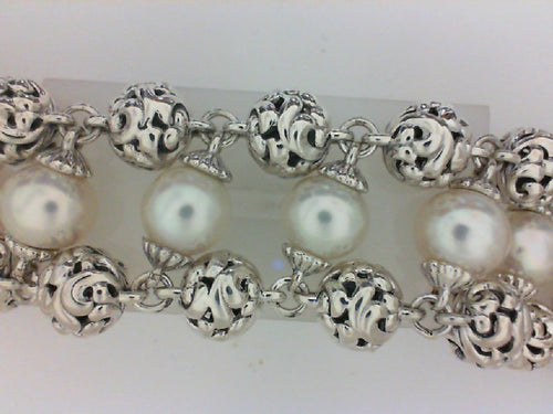 SS TRIPLE BRACELET W 11 9X9.5MM WHITE PEARLS