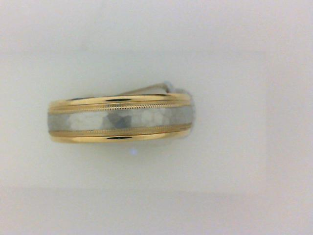 Gent's Two-Tone 14 Karat Hammered Wedding Band Size 10