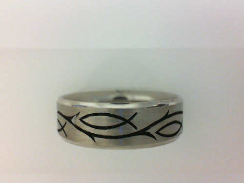 Gent's White 14 Karat Lasered Wedding Band