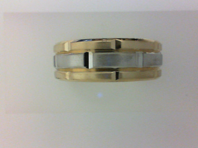 14kt 2 TONE CF 8MM ENGRAVED BAND