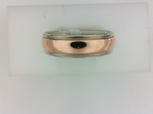 14KT WG/RG 6MM MILGRAIN EDGE  HIGH POLISHED RG CENTER