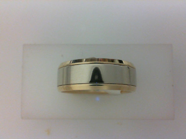 14K TT BEVELED EDGE HIGH POLISH BAND