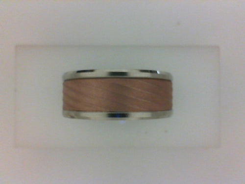 9MM 14KT TT POL BEVELED EDGE WITH RG RAISED SWIRLED BRUSHED CENTER