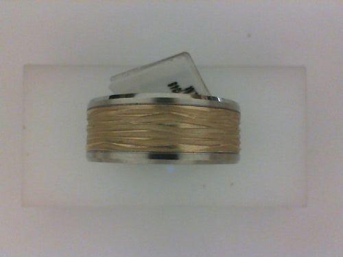9MM 14KT TT POL BEVELED EDGE WITH YELL HORIZONTAL BARK  CENTER