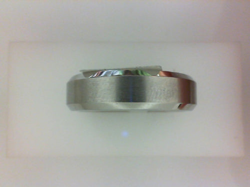 6MM COBALT CHROME BEVELED WEDDING BAND/ BRUSHED CENTER/ POLISHED EDGES.