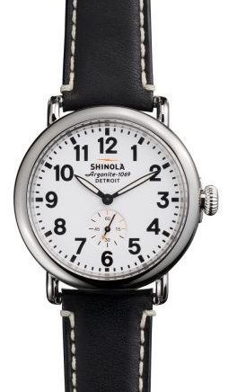 RUNWELL 41MM RD MID PLATING SS SHINY CASE &  SHINY TOP RING WHDIAL  BLK LEATHER STRAP