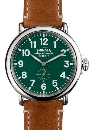 RUNWELL 47MM  RD GTS SHINEY CASE & TOP RING GREEN DIAL 24MM BROWN DUBLIN STRAP 22MM BUCKLE
