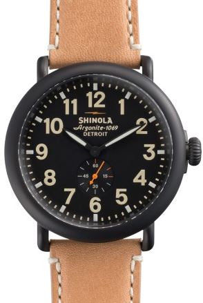 RUNWELL 47MM RD GENTS SANDBLAST CASE BLK DIAL 24MM NATURAL DUBLIN STRAP WITH BUCKLE
