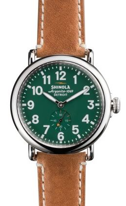 RUNWELL 41MM GREEN DIAL 20MM BROWN LEATHER STRAP