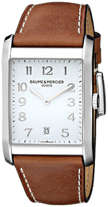HAMPTON STEEL QRTZ WHITE DIAL LIGHT BROWN CALF SKIN STRAP