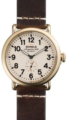 RUNWELL 41MM BRASS SANDBLAST PLATING CREAM DIAL 20MM DK COFFEE LEATHER STRAP