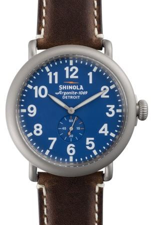 RUNWELL 47MM AA SANBLAST PLATING BLUE DIAL 24MM DK COFEE LEATHER STRAP