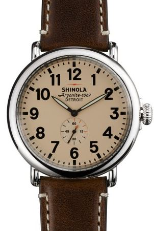 RUNWELL 47MM CREAM DIAL 22MM COFFEE LEATHER STRAP
