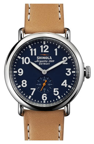 RUNWELL 41MM MATT VELVET MIDNIGHT BL DIAL W NATURAL ANILINE LATIGO STRAP