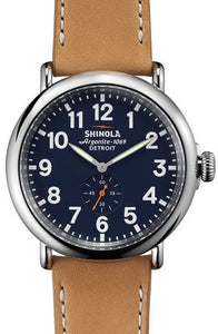RUNWELL 47MM MIDNIGHT BLUE BL DIAL NATURAL ANILINE LATIGO STRAP