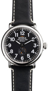 RUNWELL RD MID PLATING SS SHINY CASE & TOP RING BLK DIAL BLK  LEATHER STRAP