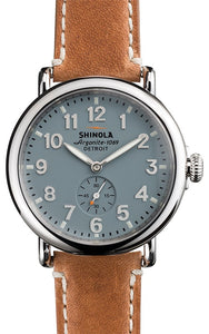RUNWELL 41MM  GREY BLUE  DIAL BROWN LEATHER STRAP