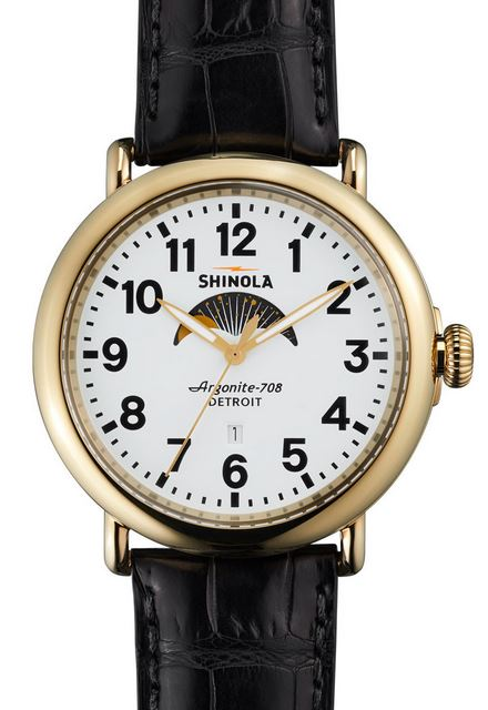 RUNWELL 41MM MOON PHASE POLISHED PVD GLD PLATING MATT VELVET WHITE DIAL BLK ALLIGATOR STRAP