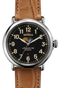RUNWELL 47MM MOON PHASE POLISHED SS PLATING MATTE VELVET BLK DIALTAN ALLIGATOR STRAP