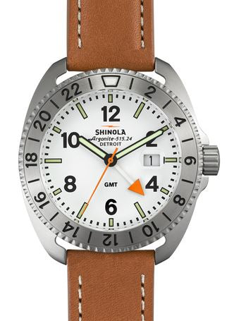RAMBLER 44MM WHITE DIAL TAN LEATHER STRAP