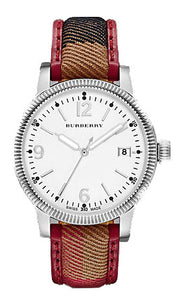 LADIES SS  CASE & WHITE DIAL W RED TRIM BURBERRY STRAP
