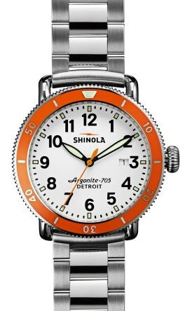 RUNWELL SPORT  42MM SS SHINEY WH DIAL  ORANGE BEZEL 20MM SS 3 LINK BRACELET WITH BUCKLE