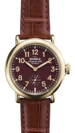RUNWELL SPORT 36MM GLD PLATING BURGANDY DIAL & STRAP