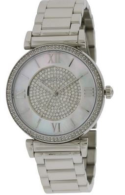 LDS QRTZ SILVER TONE WITH MOP & CRYSTAL DIAL/ CRY BEZEL