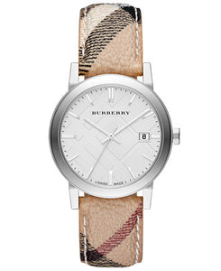 LDS SS SILVER DIAL W BURBERRY STRAP