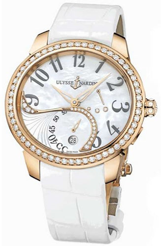 18K ROSE GOLD 41 JEWEL SW 56 RD DIA BEZEL  MOP DIAL WR 30M WHITE ALLIGATOR STRAP