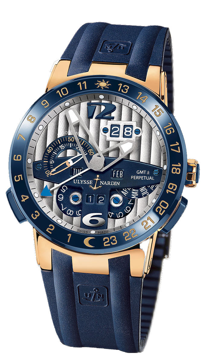 GMT PER TORO 34 JEWEL QS 18KT RG/CERANIC CASE 43MM WR 100M BL DIA RUBBE/CERAMIC STRAP