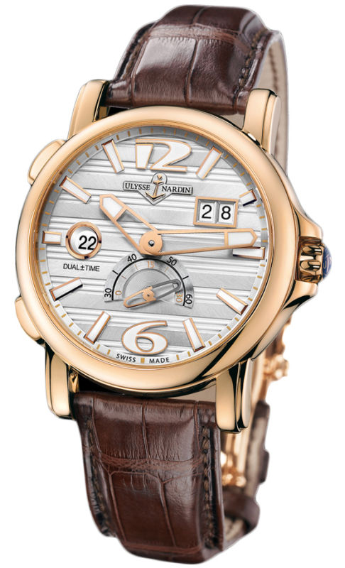 MAXI GMT DUAL TIME 34 JEWEL SW QS BIG DATE 18K RG 42MM WR 100M SIL DIAL W ARABIC FIGURES BROWN ALLIGATOR STRAP