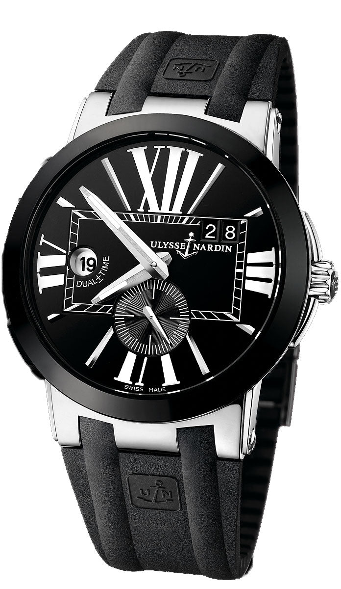 Executive dual time sw qs big date ceramic case wrblk dial