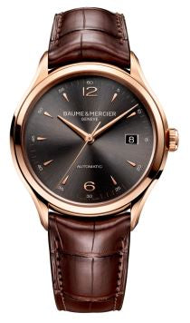 CLIFTON ROSE AUTO ANTHRACITE DIAL DARK BROWN LEATHER STRAP
