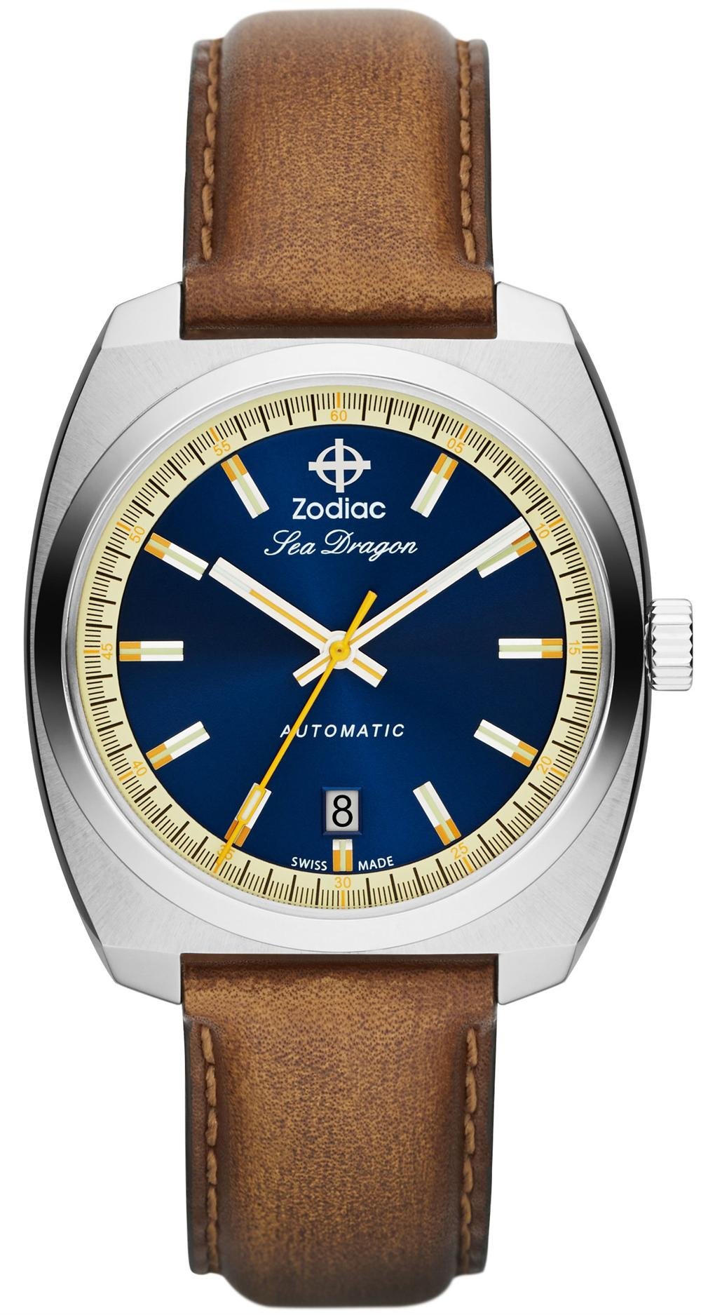 SDRG AUTO NAVY DIAL STEEL CASE WITH BROWN STRAP