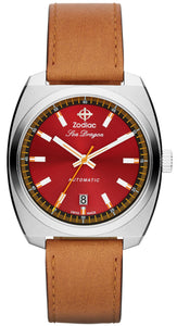 SDRG AUTO RED DIAL STEEL CASE WITH BROWN STRAP