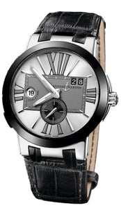 EXEUTIVE DUAL TIME 34 JEWEL SW 43MM WR 100M GREY/SILVER DIAL ROMAN # SS CASE BLK ALLIGATOR STRAP