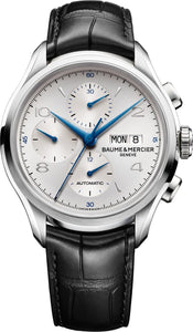 GENTS SS 43MM BAUME & MERCIER AUTO CLIFTON CHRONOGRAPH WHITE DIAL/ BLACK LEATHER STRAP